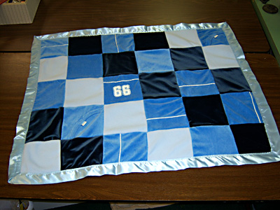 Baby boy gift - small memory quilt made from Grandma's clothing.